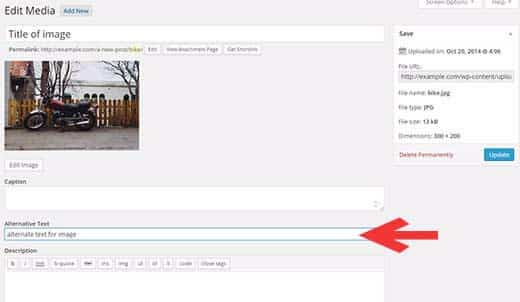 You can also add alt text to an image by visiting Media » Library and clicking on the Edit link below the image.