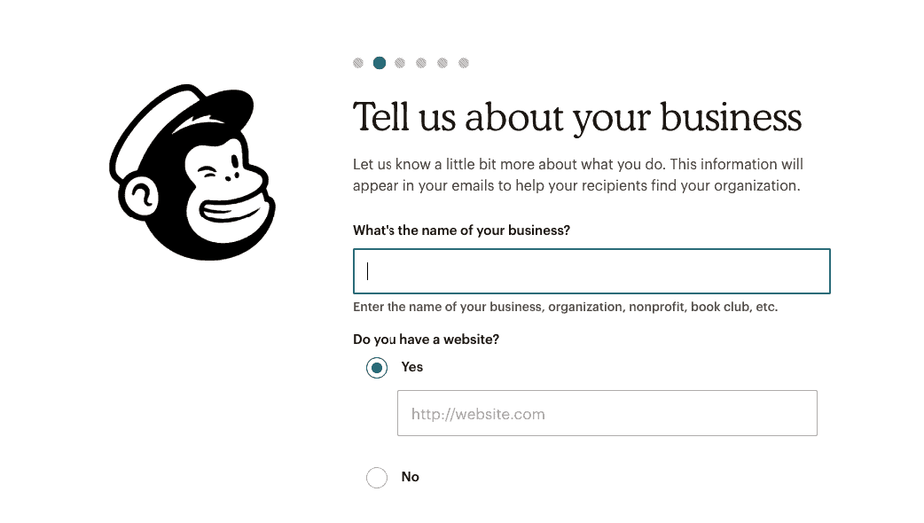 Mailchimp Tell Us about Your Business