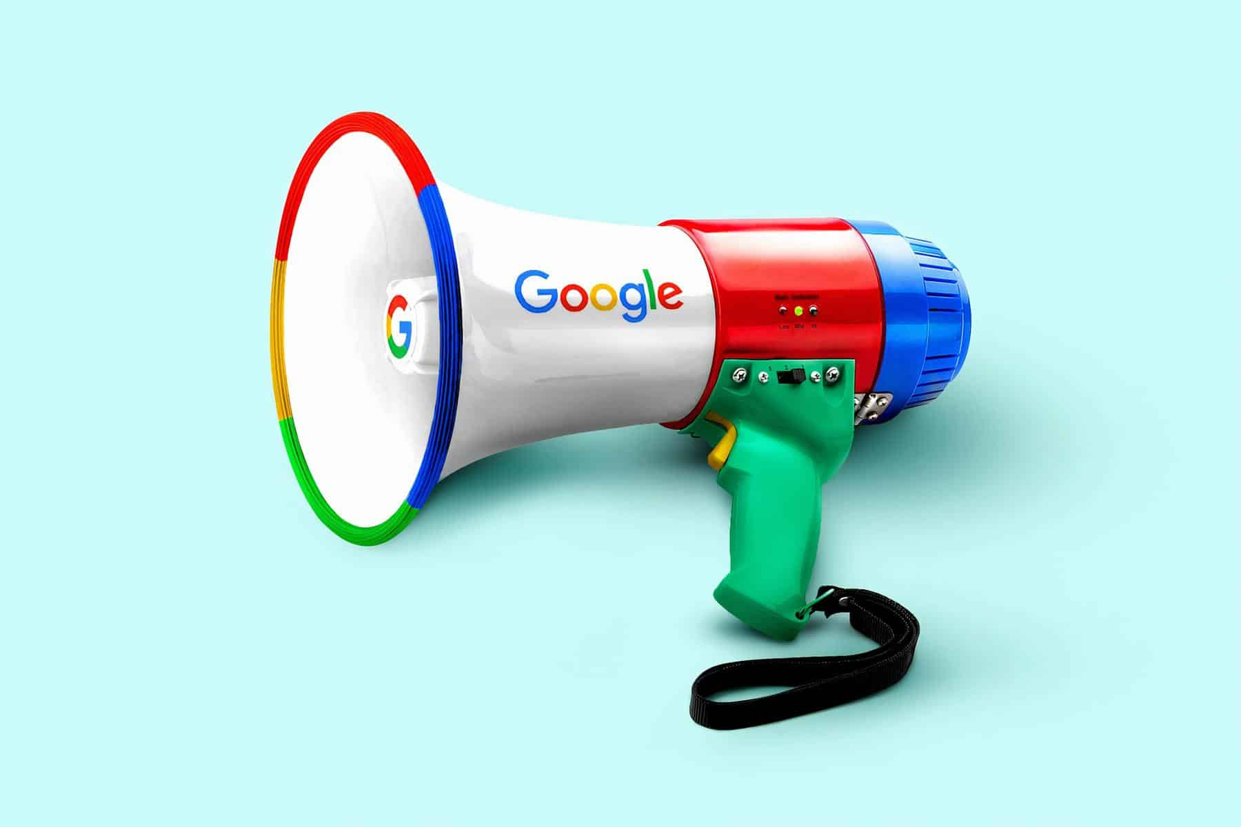 Megaphone with google logo
