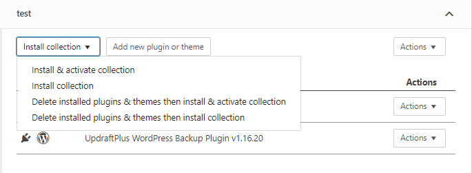 WP Reset collection options