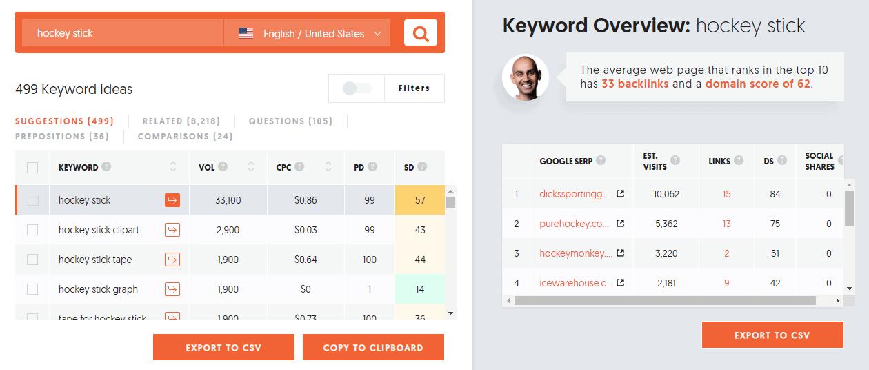 Keyword ideas results