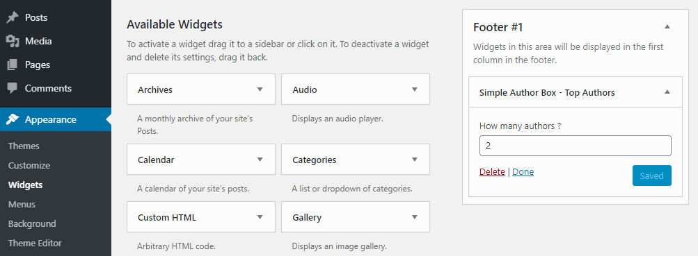 Top authors widget