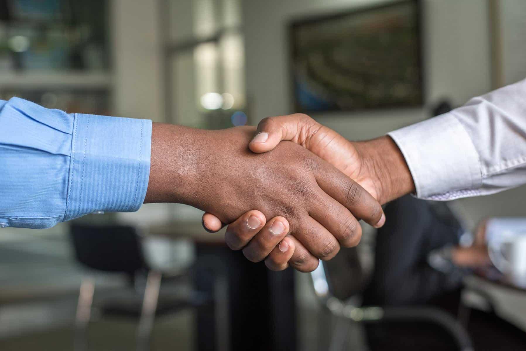 Handshake up close