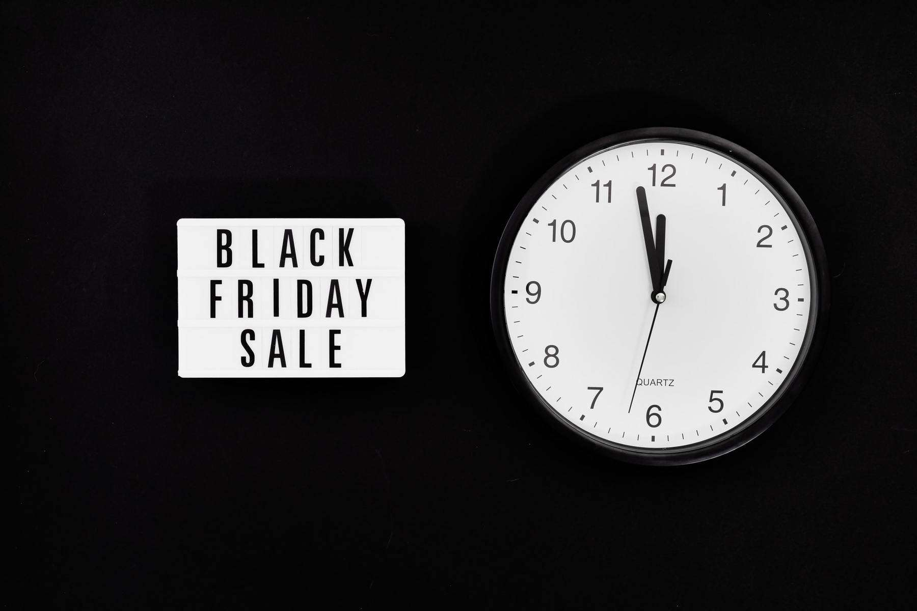 Black Friday sale sign and clock