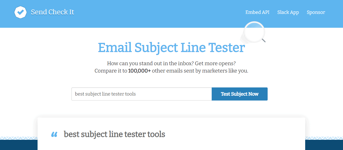 Email Subject Line Tester