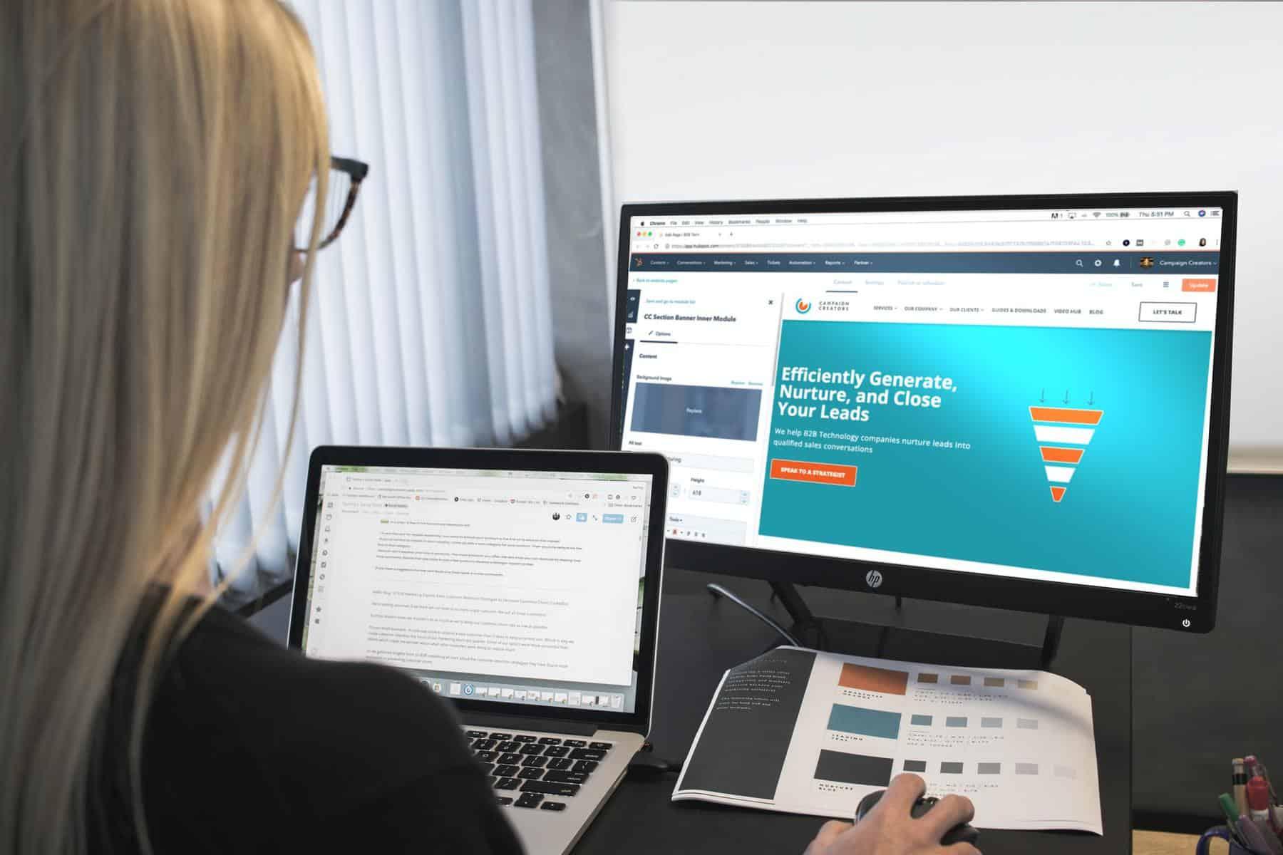 Woman customizing website