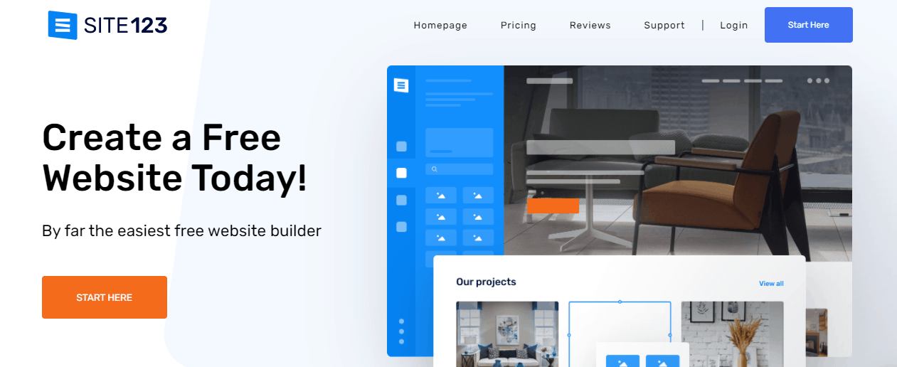 SITE123 landing page