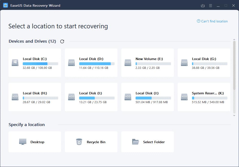 EaseUS Data Recovery Wizard dashboard