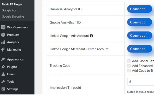 Enhanced Ecommerce Google Analytics Plugin for WooCommerce main settings page