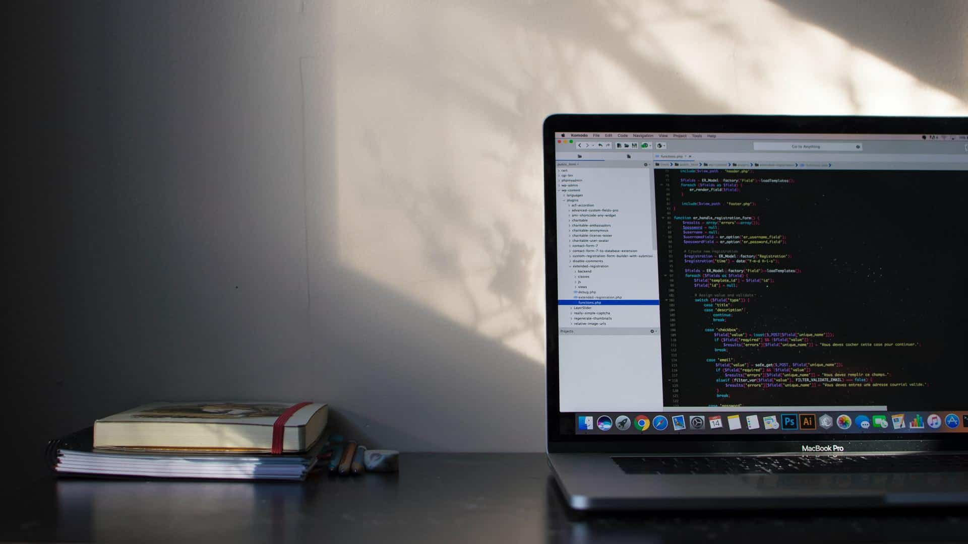 Laptop running code editor
