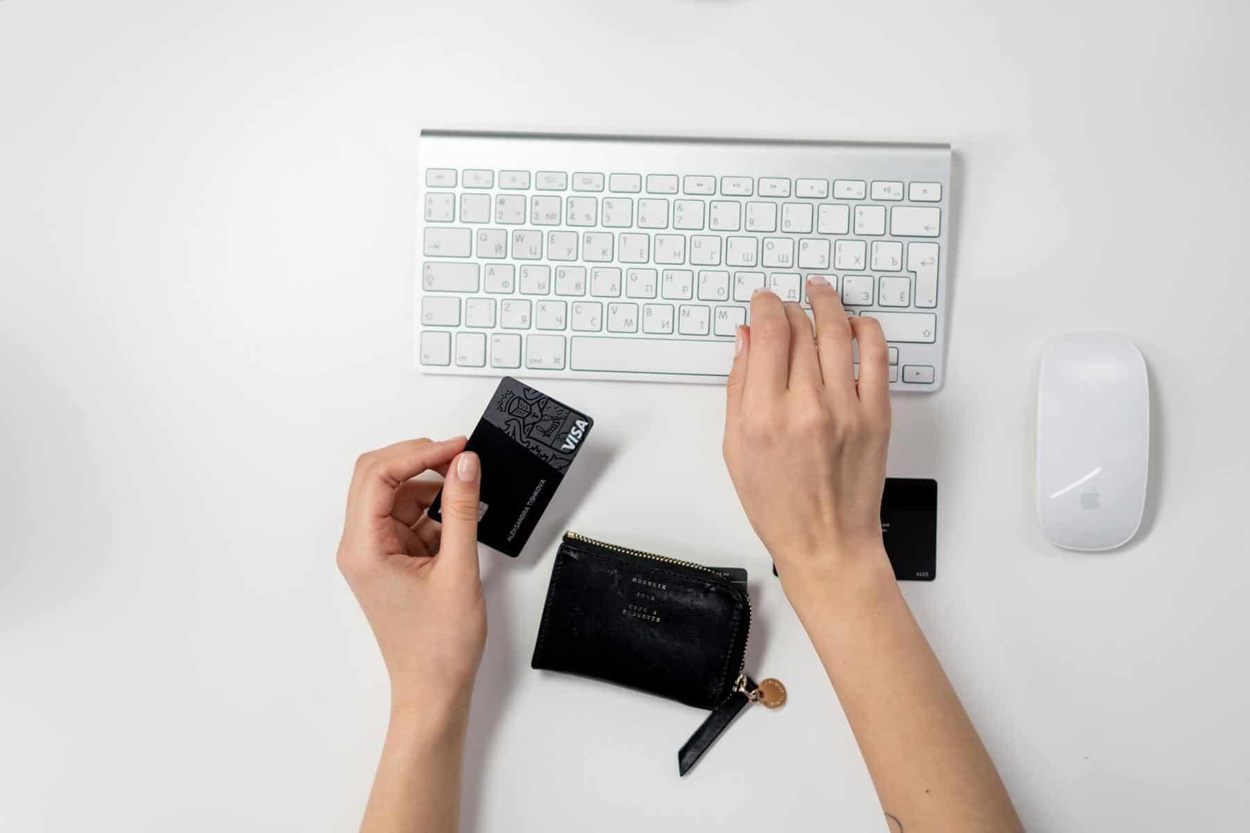 Person entering credit card details