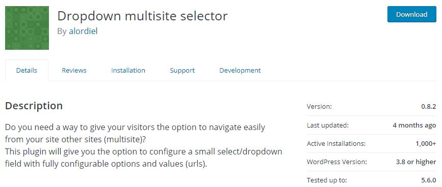 Dropdown Multisite Selector