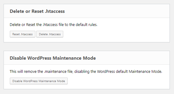 Emergency Recovery Script delete or reset .htaccess and disable WP maintenance mode tools