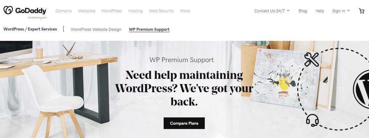 GoDaddy WP premium support