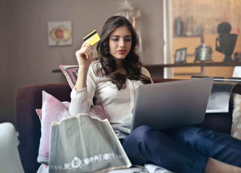 Girl online shopping