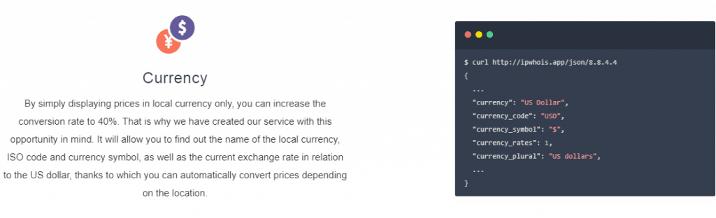 IPWhoIs displayed users currency